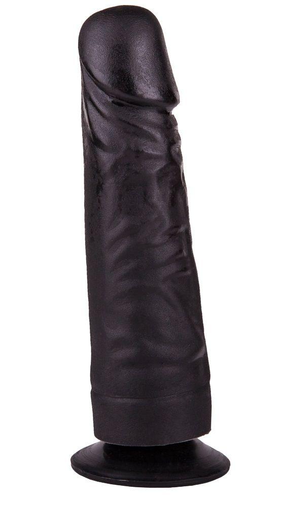 Чёрный фаллоимитатор на подошве-присоске - 17,5 см.