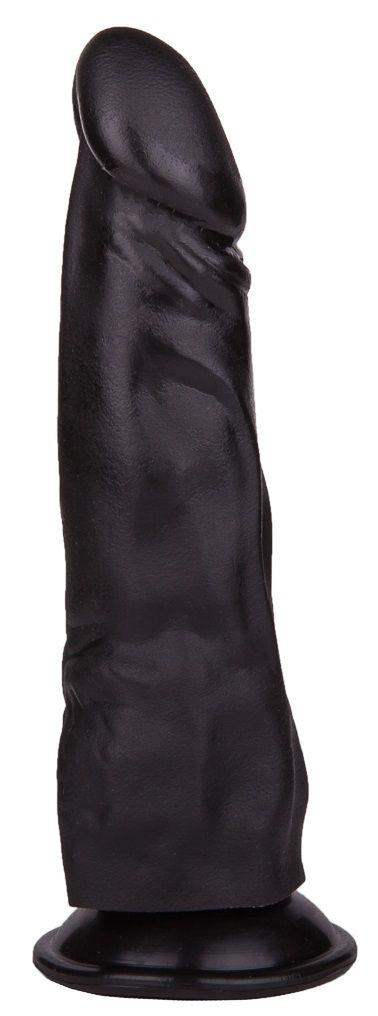 Чёрный фаллоимитатор на присоске - 17,5 см.