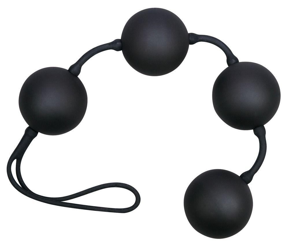 Чёрные вагинальные шарики на сцепке в силиконе