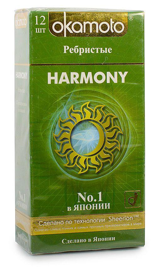 Презервативы анатомической формы с особой ребристой структурой Okamoto Harmony — 12 шт.