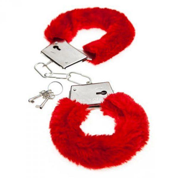 Красные меховые наручники Love с ключиками