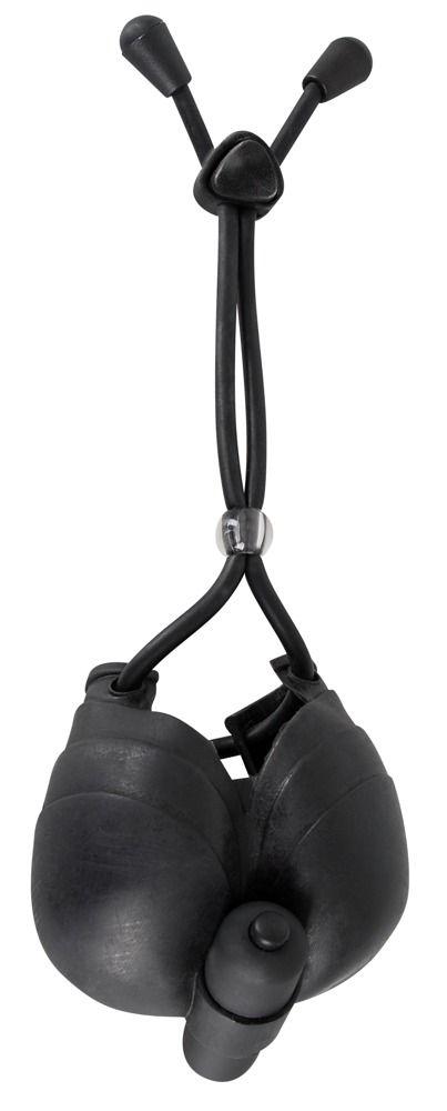 Чёрное эрекционное лассо с подхватом мошонки Bad Kitty