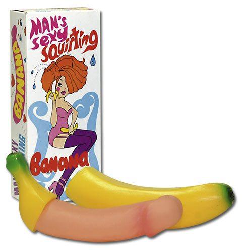 Сувенирный фаллоимитатор в банане - 18 см.