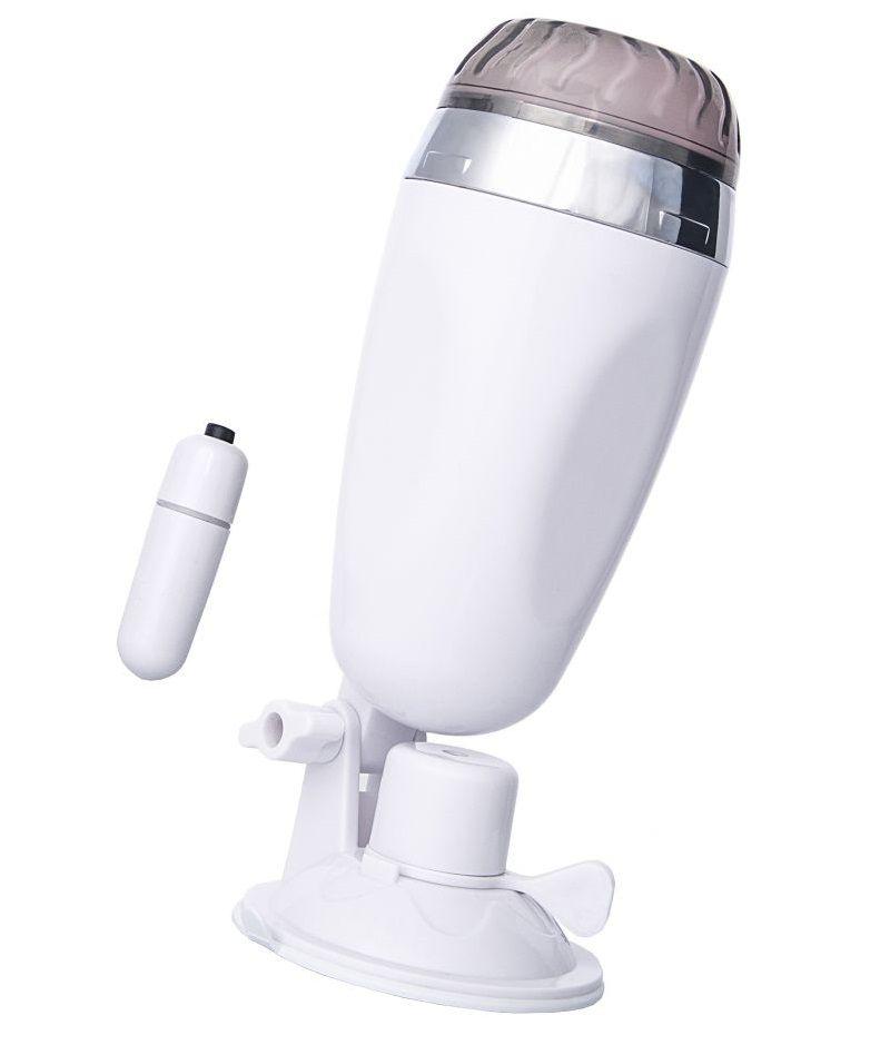 Мастурбатор-вагина в белой колбе с присоской и встраиваемой вибропулей
