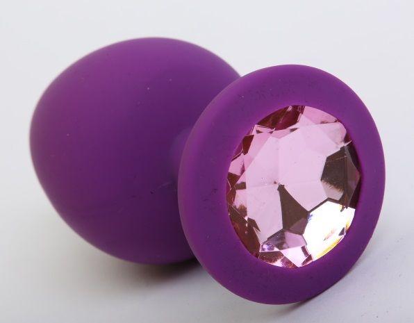 Фиолетовая силиконовая пробка с розовым стразом - 9,5 см.
