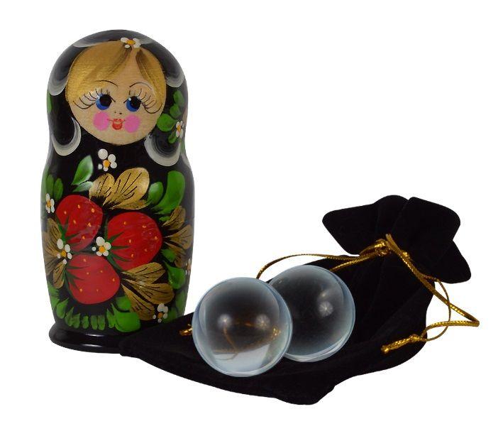Стеклянные вагинальные шарики в футляре-матрёшке