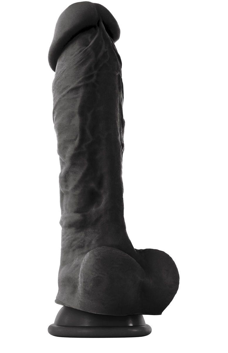 Чёрный фаллоимитатор на присоске ColourSoft  8  Soft Dildo - 23,5 см.