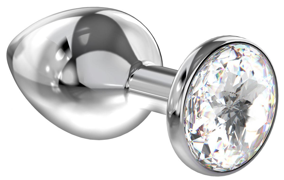 Большая серебристая анальная пробка Diamond Clear Sparkle Large с прозрачным кристаллом - 8 см.