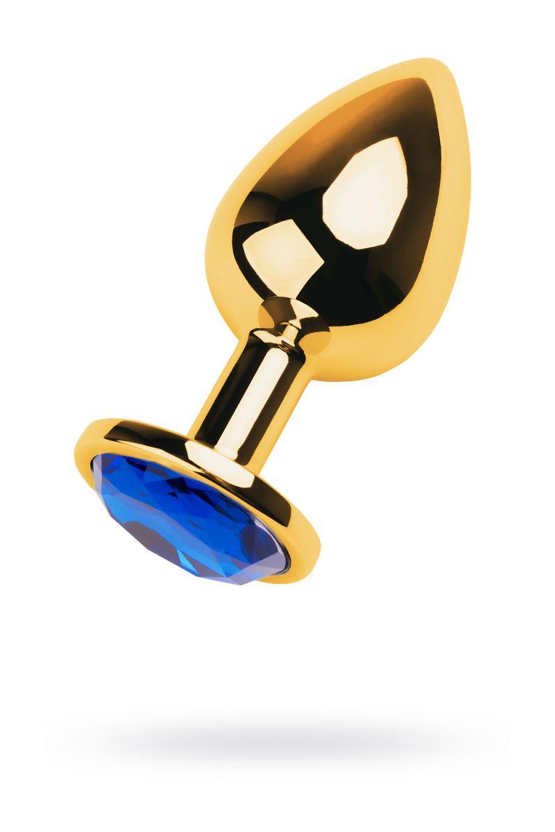 Анальная втулка с синим стразом - 9,5 см.