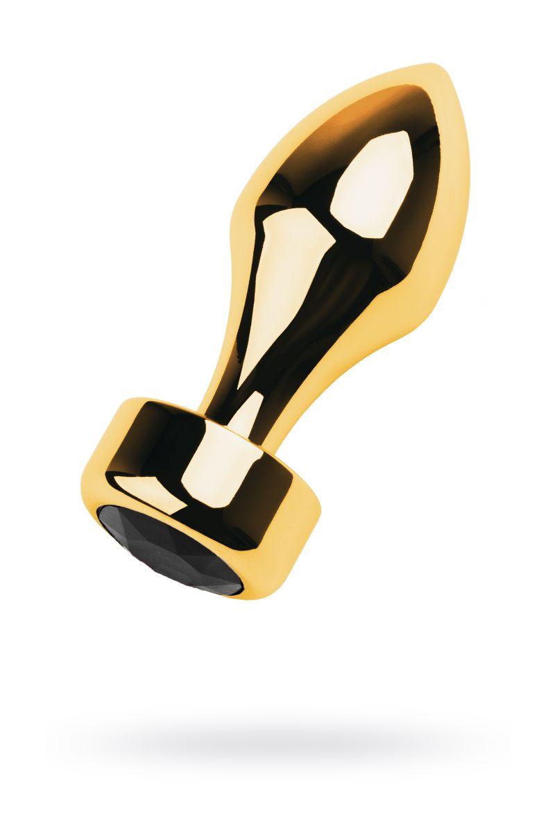 Золотистая каплевидная анальная пробка с чёрным кристаллом - 9,5 см.