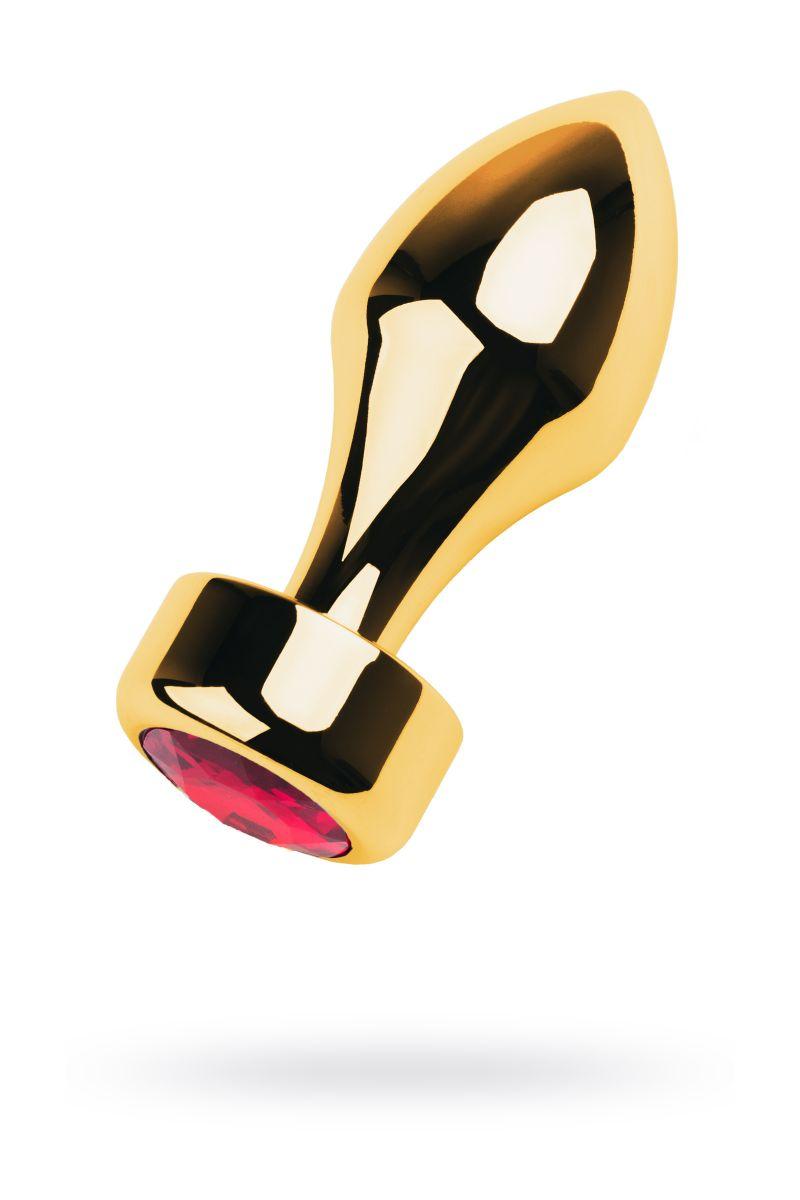Золотистый каплевидный анальный плаг с красным кристаллом - 9,5 см.