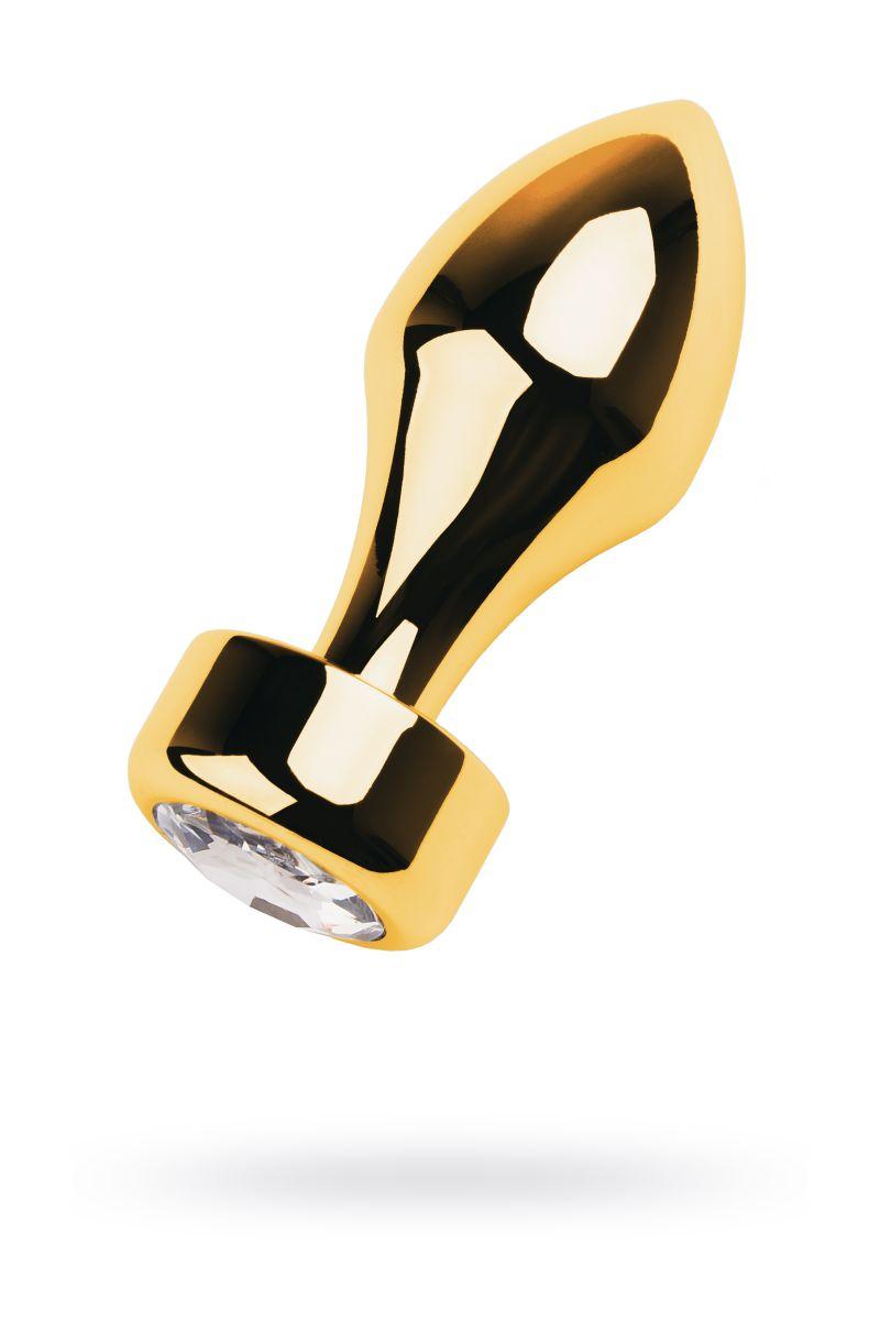 Золотистый каплевидный анальный плаг с прозрачным кристаллом - 9,5 см.