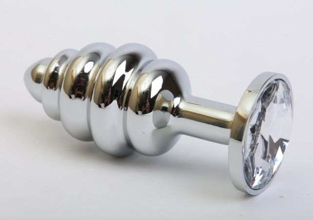 Серебристая фигурная пробка с прозрачным стразом - 8 см.