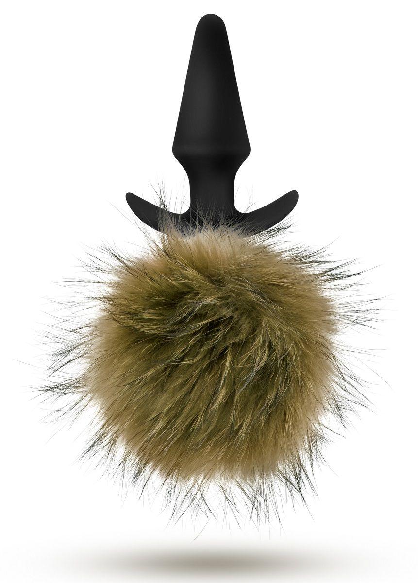 Силиконовая анальная пробка с дымчатым заячьим хвостом Fur Pom Pom - 12,7 см.