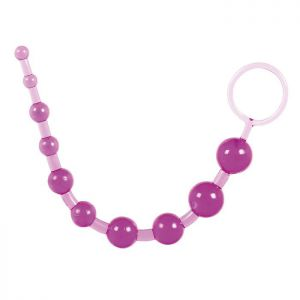 Фиолетовая анальная цепочка с ручкой-кольцом - 25 см.