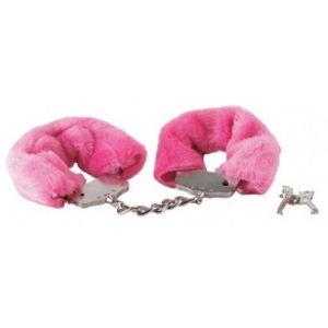Розовые меховые наручники в комплекте с ключами
