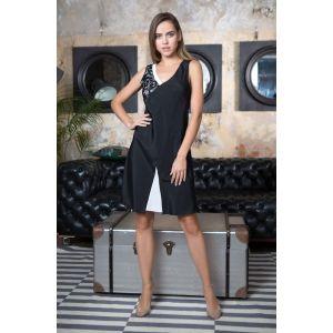 Коротенькое домашнее полуприталенное платье Black&White
