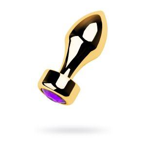 Золотистая анальная пробка с широким основанием и фиолетовым кристаллом - 7,5 см.