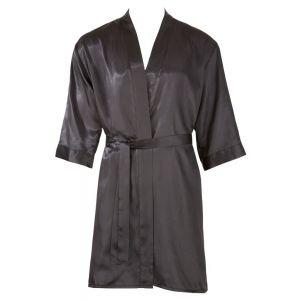 Шелковистый халат для мужчин с иероглифами на спинке