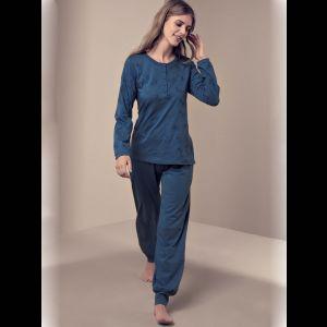 Женская пижама с рубашкой на пуговицах