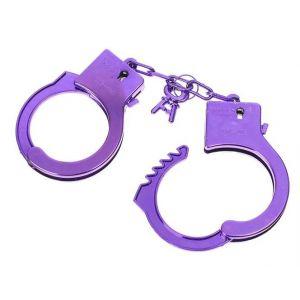 Фиолетовые пластиковые наручники  Блеск