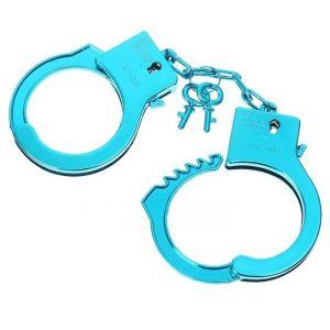 Голубые пластиковые наручники  Блеск