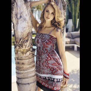 Короткое пляжное платье на тонких завязочках