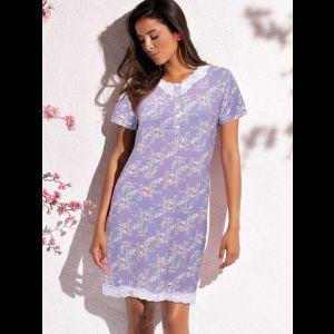 Короткая женская сорочка с цветочным принтом