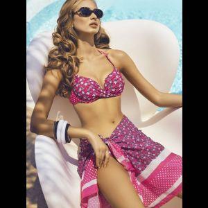 Женское пляжное парео в полоску с цветочным принтом