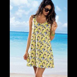 Короткое женское пляжное платье на широких бретелях