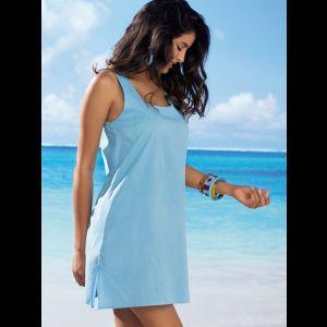 Оригинальное пляжное платье на широких бретелях