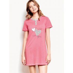 Короткая домашняя сорочка на пуговицах с сердечками
