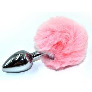 Серебристая округлая анальная пробка с заячьим хвостиком розового цвета - 11,5 см.