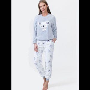 Уютная женская пижама с брюками на манжетах