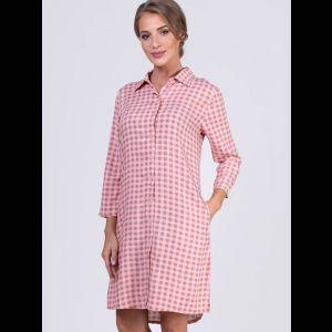 Короткое платье-рубашка в клеточку