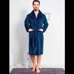 Длинный мужской халат в тонкую полоску