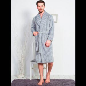 Элегантный мужской халат в полоску