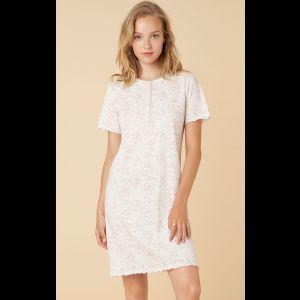 Женская трикотажная ночная сорочка из хлопка с коротким рукавом