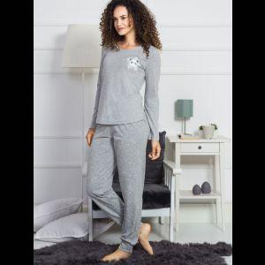 Домашний комплект с серыми брюками на манжете
