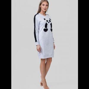 Трикотажное байковое платье с пандой