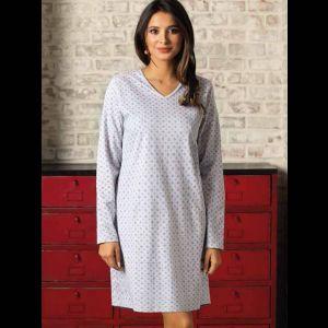 Короткое прямое домашнее платье с длинным рукавом