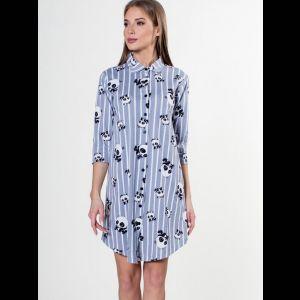 Короткий халат-рубашка с пандами