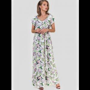 Платье в пол из вискозы с цветочным принтом