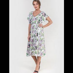 Вискозное платье со спущенным рукавом и цветочным принтом