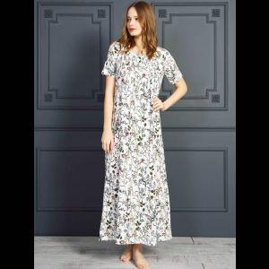 Длинное платье из вискозы с мелким цветочным принтом