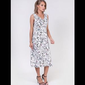 Длинное платье с мелким цветочным принтом