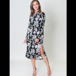 Эффектное платье-рубашка с цветочным принтом