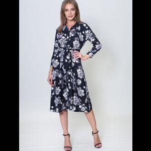 Платье с длинным рукавом на пуговицах