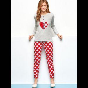 Хлопковая пижама с аппликацией в виде сердца