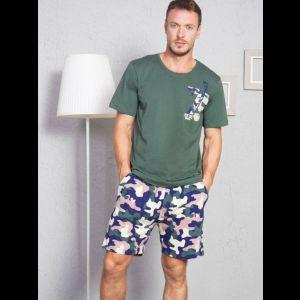 Трикотажный мужской комплект с камуфляжными шортами